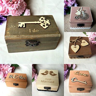 Vintage Wooden Wedding Ring Box Personalized Mr Mrs Ring Ring Bearer Box Rustic