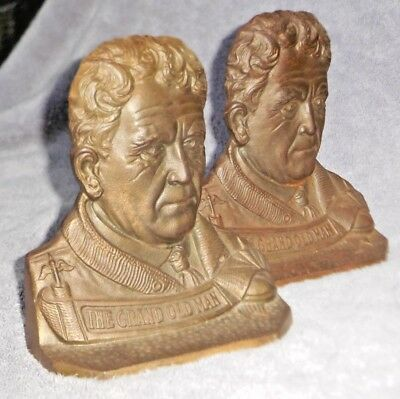 Antique Cast Iron Bookends - Amos Alonzo Stagg Football Coach - Yale