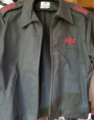 SZ. 42 - MED. ~ RETIRED COCA-COLA EMPLOYEE JACKET ~ CHARCOAL GRAY w/ RED ~ NEW