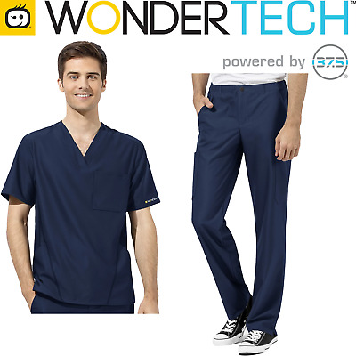 Mens Scrub Set - Stretch Fabric Top and Pant V-Neck Style Medical Nurse Uniform