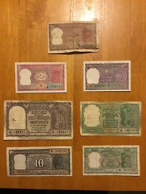 India Banknotes 7 Piece Lot 1,2,5,10 Rupees Circulated