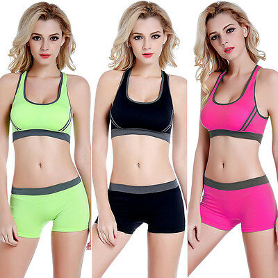2PCS Womens Sports Bra Padded Bras Crop Top & Pant Stretch Gym Yoga Athletic Set