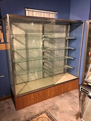 Large Full Glass Collectibles Showcase Display Cabinet 8 Shelves Double Doors