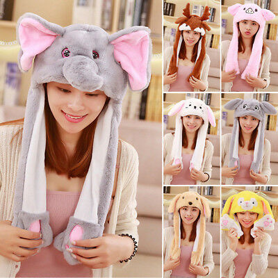 US STOCK 11 Style Cute Plush Rabbit Pinching Bunny Ear Hat Can Move Airbag Cap