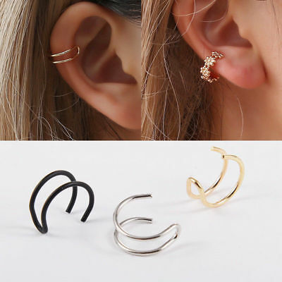 Cross lobe auricle clip cuff bag false ear stud hoop non-puncture cartilage 1pc