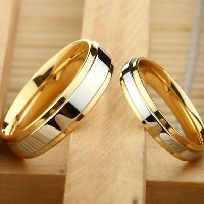 316L Stainless Steel Wedding Ring Gold-Plated Engagement Jewelry Ring Sz 6-10