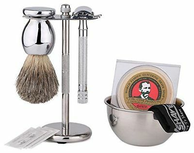 Shaving Gift Set with SmartHome Safety Razor, Bowl, Shave Soap 100% Badger Brush