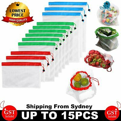 UP 15x Eco Friendly Reusable Mesh Produce Bags Superior Double Stitched Strength