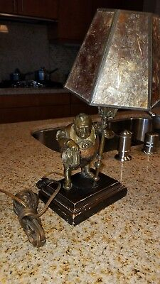 """Sancho Panza bronze and coconut table lamp mica shade 13""""h x 8""""d x 6""""w unmarked"""