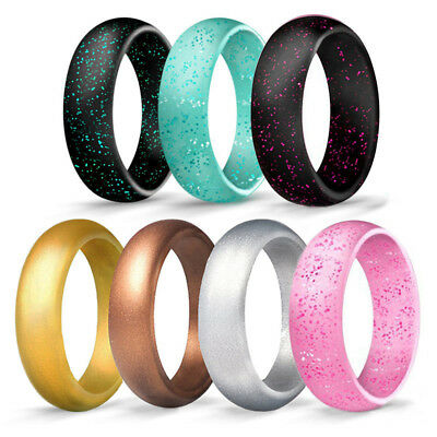 1PC Silicone Glitter Wedding Ring Rubber Band Women Gym Flexible Comfort Work