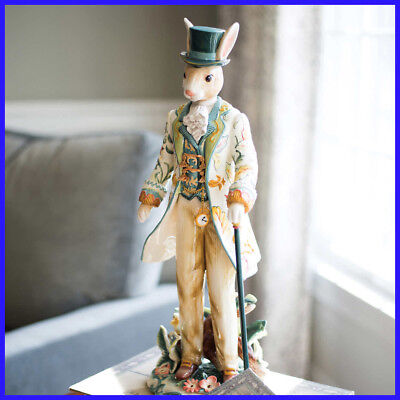 "Fitz & Floyd Dapper Rabbit Male Figurine, Hand-crafted,  20"" Ceramic, Easter"