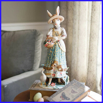 "Fitz & Floyd Dapper Rabbit Female Figurine, Hand-crafted,  20"" Ceramic, Easter"