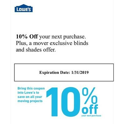 10% Off Lowe's Coupon, Exp 01/31/2019