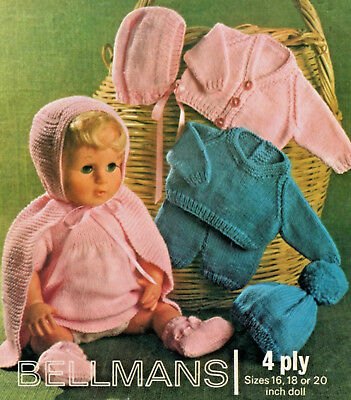 """""""COPY""""   Bellmans-1289   Dolls Clothes Knitting Pattern  10 Items to knit  4 Ply"""