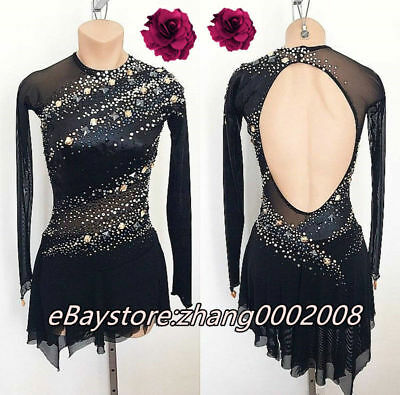 Ice Skating Dress.Competition Figure Skating Dress.Black Twirling Dance Costume