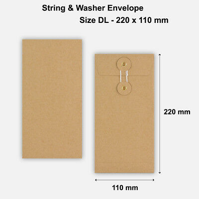 DL Size - Brown String & Washer Envelopes Button Tie Manilla - 220 x 110 mm