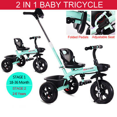 2 IN 1 Kids Baby Toddler Tricycle Trike Bike 3 Wheel Ride On Toy