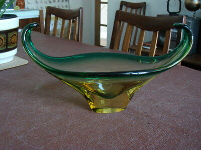 Vintage Retro Art Glass Bowl (Possibly Murano / Czech) Green and Yellow Colour V