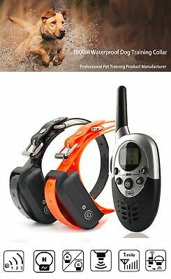 800M Waterproof Pet Dog Shock Training Collar With Remote Rechargeable 433.83MHZ