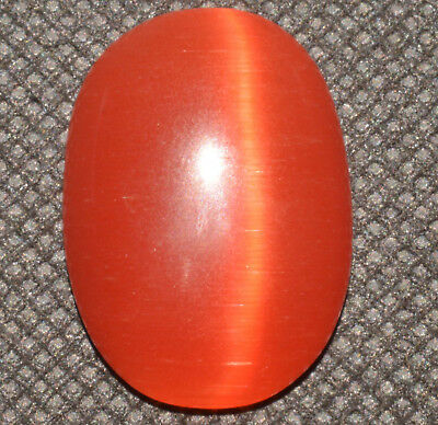 31.80 Ct Natural Orange Cat's Eye AGSL Certified Cabochon Rare Found Loose Gem