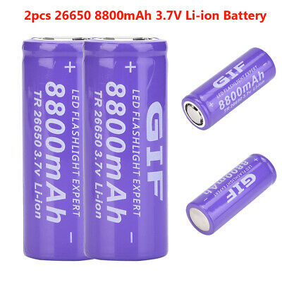 2X 26650 8800mAh 3.7V Li-ion Rechargeable Battery Large Capacity for Flashlight