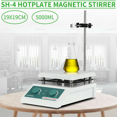 220V Hotplate Magnetic Stirrer SH-4 19x19cm Ceramic Top Plate 5000ml Heavy Duty