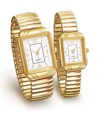 His & Hers Gold-Tone Stretch Watch Set   Matching Men's & Ladies Wristwatches