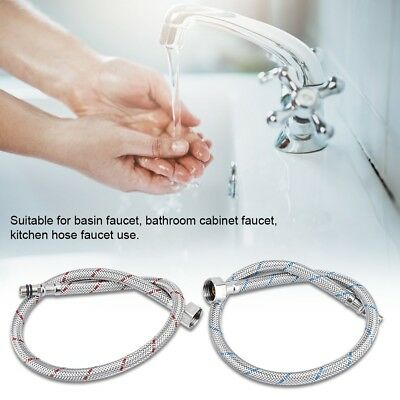 2Pcs Stainless Steel Faucet Connector Flexible Braided Water Supply Line Hoses A