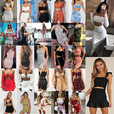 Women Check Ruffled Two Piece Dress Set Off Shoulder Tassel Boob Top Split Skirt