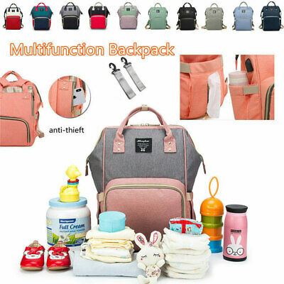 Baby Diaper Nappy Changing Bag USB Mummy External Travel Backpack Multi-function
