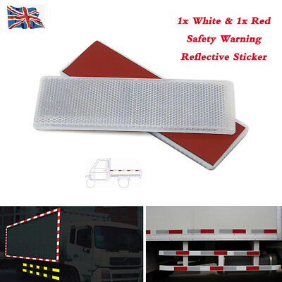 1set White+red E-Approved Rectangular Reflectors for Trailer Caravan Gateposts