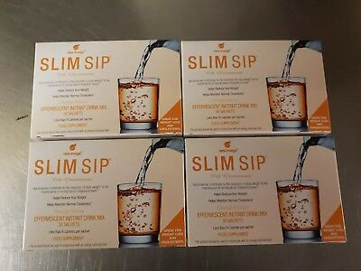 4 Boxes Slim Sip The Simple Solution Drink for Weight Loss Orange 120 Sachet