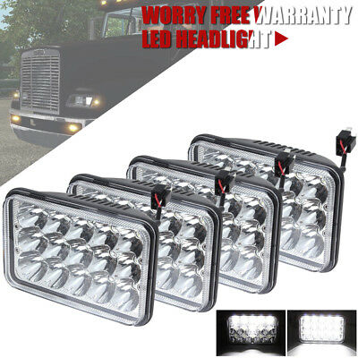 4pcs 4x6Inch LED Truck Headlights Projector Headlamps for KENWORTH Freightliner