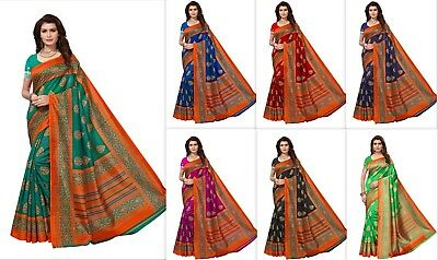 Designer Kanchipuram Saree Indian Bollywood Cotton Silk sari Party Wear Blouse S
