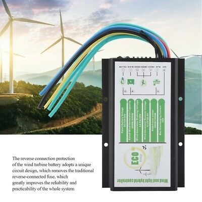 Wind and Solar Hybrid Charge Controller Waterproof 12V / 24V 400W / 800W Black