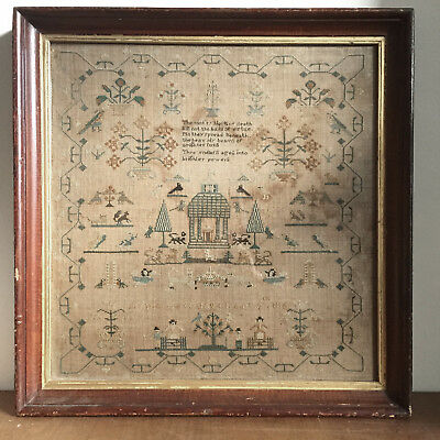 1800s Embroidery Sampler with Poem and Unicorn, signed and dated 1863
