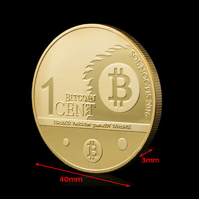Gold Bitcoin Commemorative Round Collectors Coin Bit Coin is Gold Plated 1 CENT