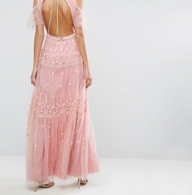 26dd221fd1e9 BHLDN Anthropologie Needle & Thread Embroidered Maxi Dress Gown size US 4  $395