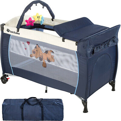 New Portable Child Baby Travel Cot Bed Playpen with Entryway Navy Blue
