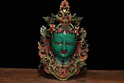 Chinese Antique Tibetan Buddhism Pure copper inlaid gemstone painting Tara mask