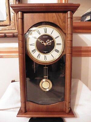 Vintage SEIKO PQ806B Solid Wood Pendulum Wall Clock with Chime FREE UK POSTAGE