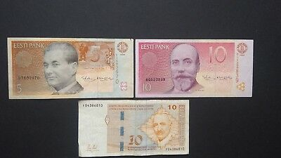 Tree banknotes Bosnia Estonia VF