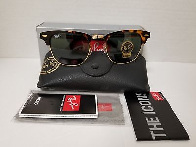 NEW Ray-Ban Clubmaster RB3016 W0366 51mm brown Frame Green Polarized Lens