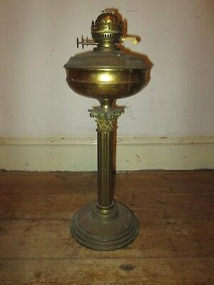 "Antique Solid Brass Large Corinthian Column Oil Lamp Uncleaned ""as found"""