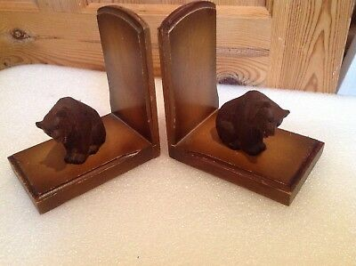 Black Forest Carved Bears  Book Ends