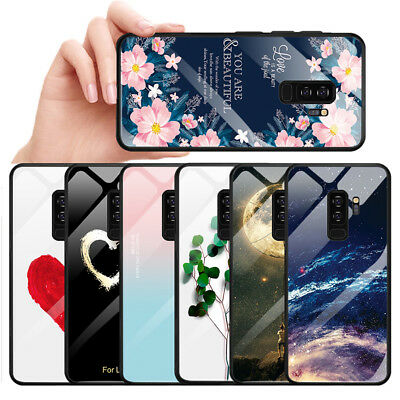 Tempered Glass Case For Samsung Galaxy S8 S9 Note 9 TPU Bumper Stars Space Cover