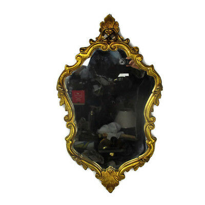 Large  Ornate Oval Plaster Wood Wall Hanging Mirror Romantic Hollywood Regency