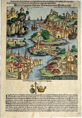 SARMACJA Schedel Weltchronik 1493 World Chronicle Woodcut colored from 1493