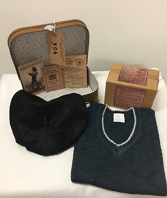 1940's-Memorabilia-School Day GIRLS Complete Suitcase Wartime Dress Up Set