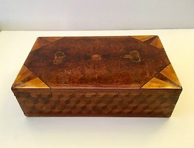 Vintage Inlaid Exotic Wood Deco Jewelry Box - Good Original Condition